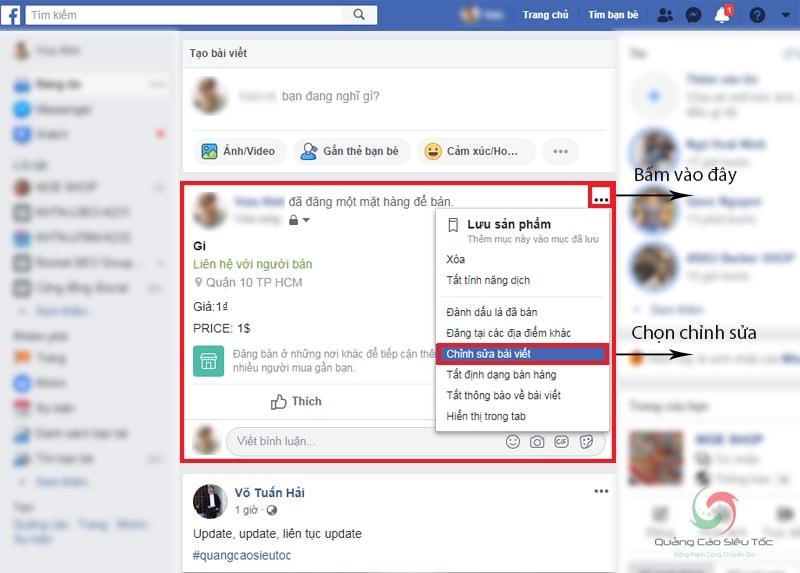 Chỉnh sửa bài bán hàng sau khi đăng trên tài khoản Facebook cá nhân