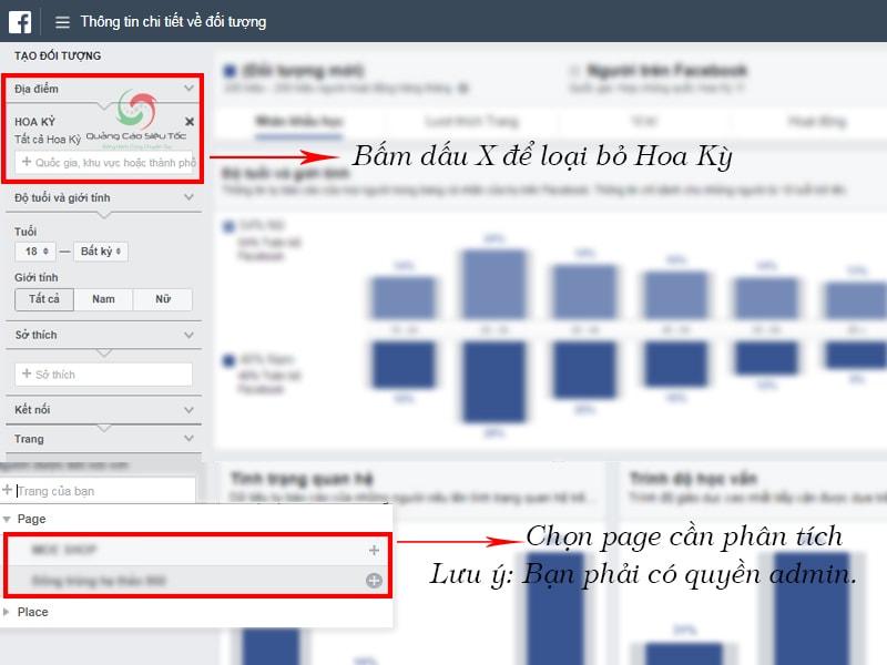 Chọn page cần phân tích trong Audience Insights Facebook