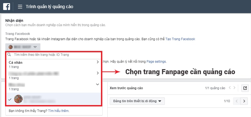 Chọn trang Fanpage cần chạy quảng cáo Facebook