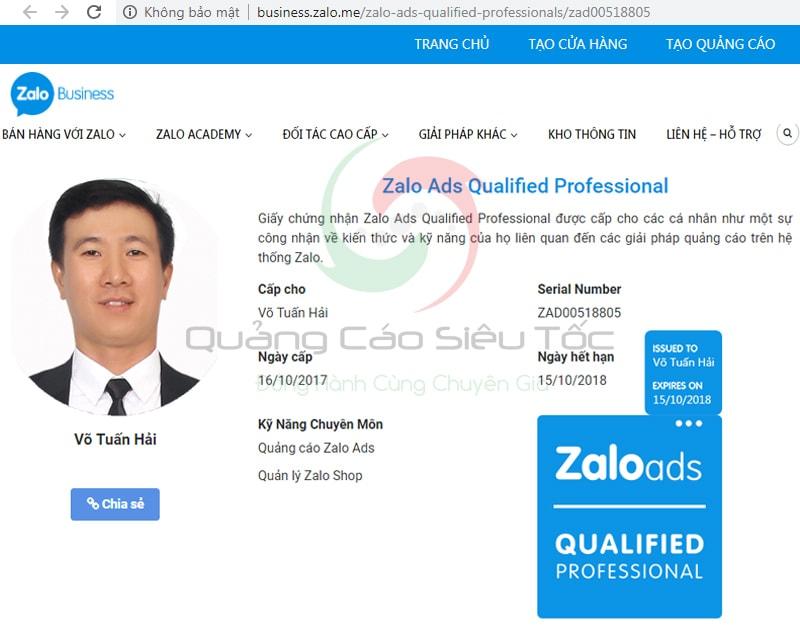 Chứng chỉ quảng cáo Zalo được cấp cho anh Võ Tuấn Hải