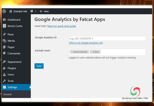 Chèn code Google Analytics vào Wordpress bằng cách nhập ID theo dõi