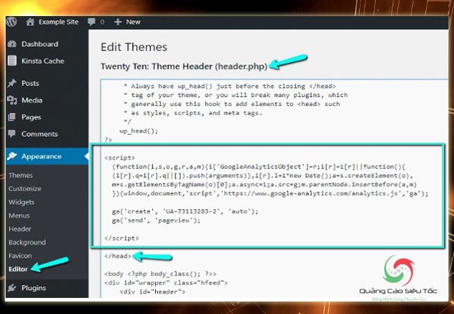 Chèn code Google Analytics vào Wordpress không sử dụng plugin