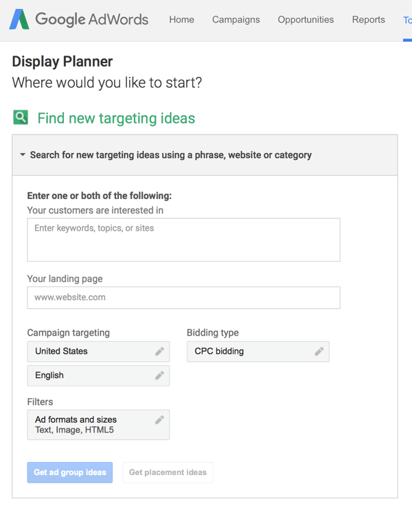 cong cu Adwords Display Planner