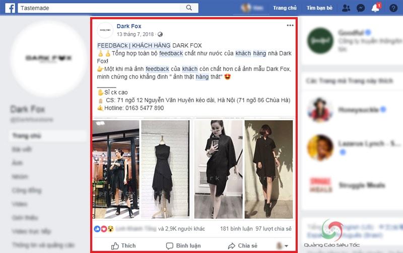 Đăng ảnh Feedback của khách trên fanpage Facebook