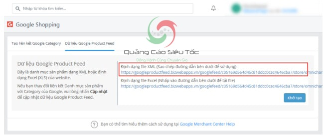 liên kết data feed và google merchant