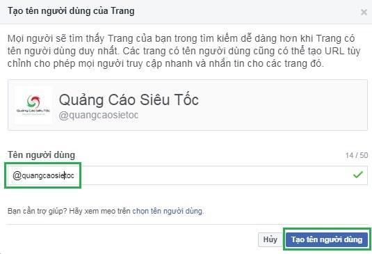 Điều chỉnh tên người dùng trên fanpage