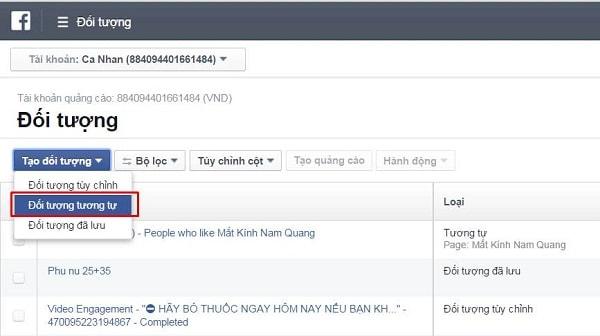 Cách tạo tệp đối tượng tùy chỉnh trong Facebook Ads