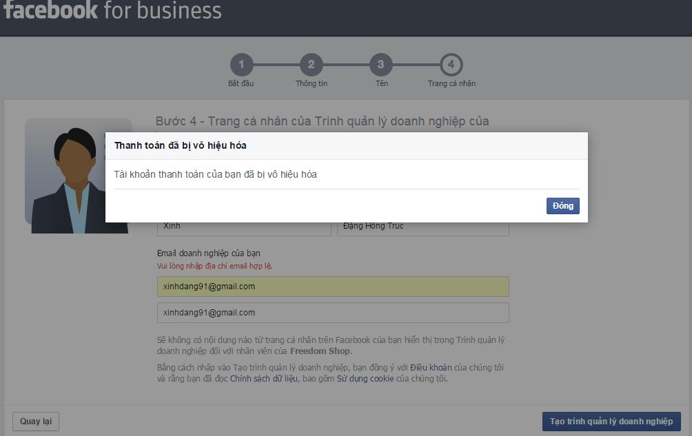 Từ chối tạo tài khoản vì không có tài khoản thanh toán quảng cáo Facebook