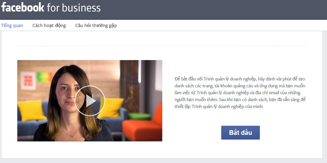 Bắt đầu tạo tài khoản Facebook Business Manager