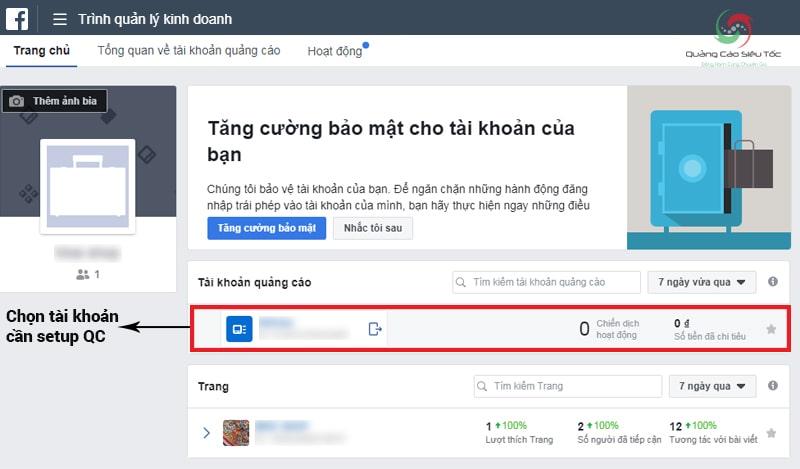 Nhấp vào tài khoản bạn muốn sử dụng để chạy quảng cáo Facebook