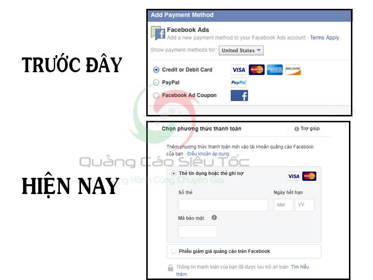 Giao diện Facebook hiện không hỗ trợ thanh toán bằng Payal nữa
