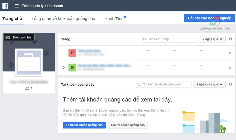 Giao diện tài khoản Facebook Business Manager