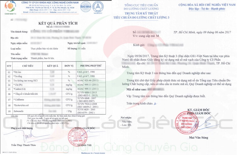 Một số giấy tờ liên quan chứng minh chất lượng sản phẩm