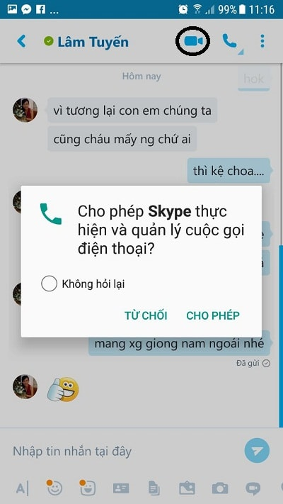 cách gọi video skype trên điện thoại