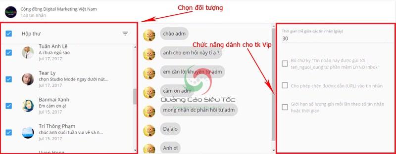 Sử dụng phần mềm gửi tin nhắn trên fanpage