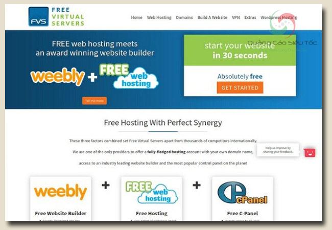 host miễn phí tại trang FreeVitualServers