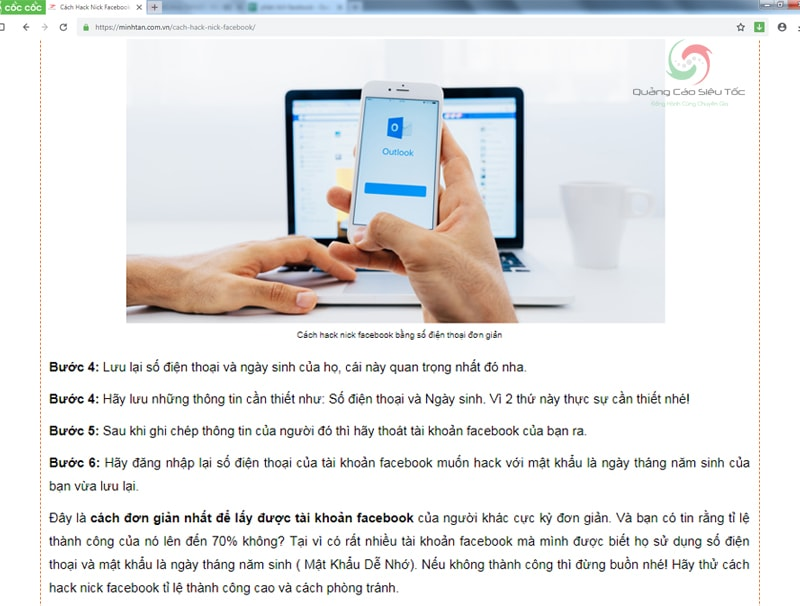 hướng dẫn hack facebook lừa đảo trên internet