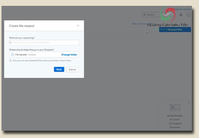Hướng dẫn sử dụng dropbox để gửi yêu cầu file
