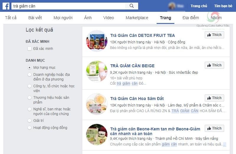 Kết quả tìm kiếm trà giảm cân trên Facebook
