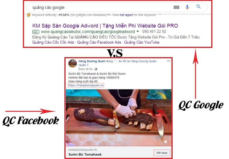 Sự khác nhau giữa bài viết quảng cáo facebook và Google