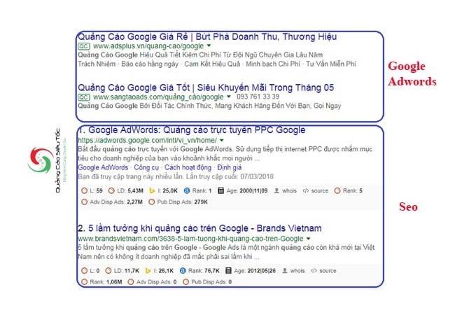 Quảng cáo Google khác SEO chỗ nào