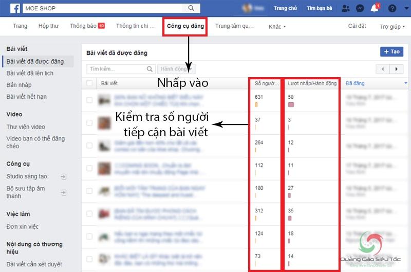 Cách kiểm tra số người tiếp cận bài viết trên fanpage facebook