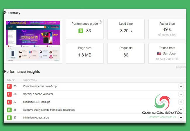 kiểm tra tốc độ website bằng công cụ Pingdom