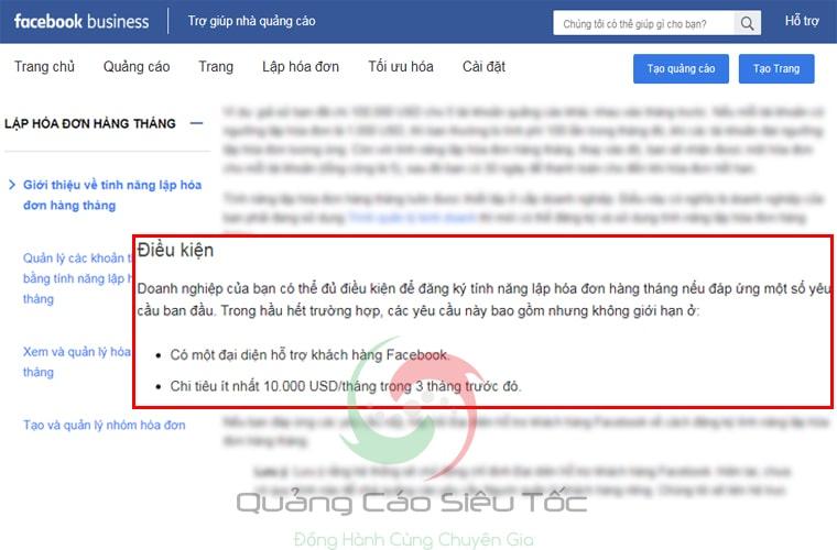 Điều kiện cần để được Facebook xuất hóa đơn thanh toán trực tiếp
