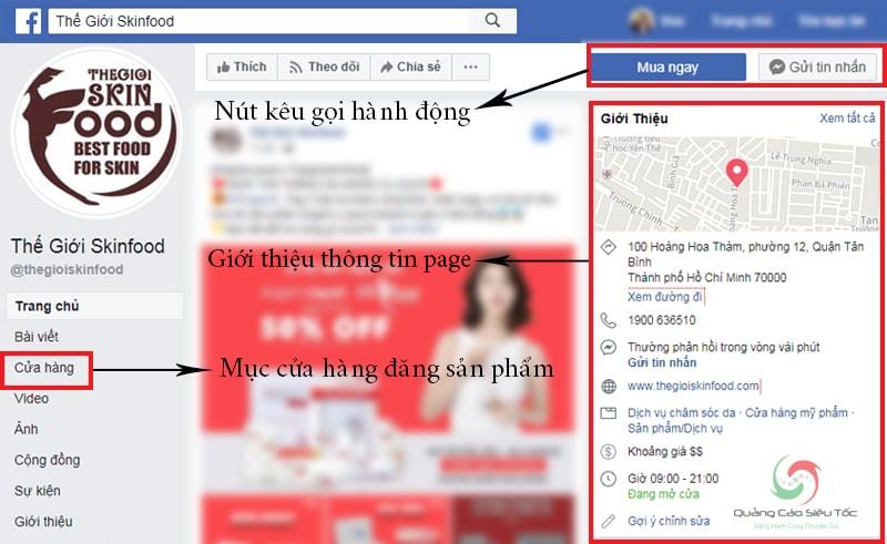 Mẫu Fanpage bán hàng tiêu chuẩn trên Facebook