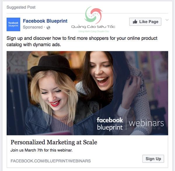 Mẫu quảng cáo Facebook giá rẻ