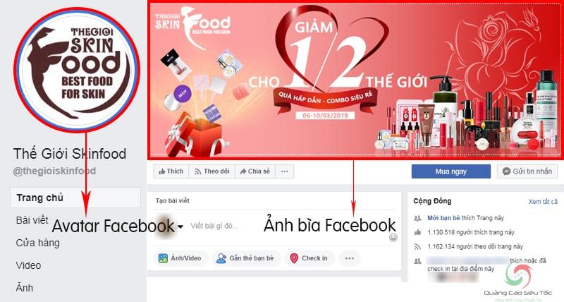 Minh họa ảnh avatar Facebook của SkinFood