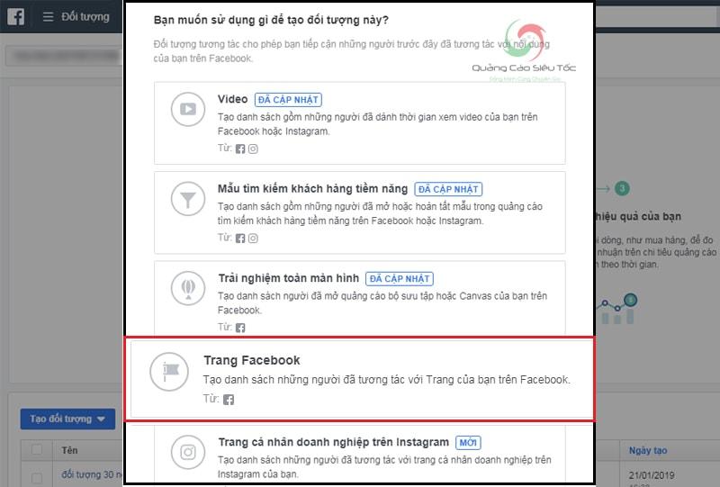 Mục trang Facebook trong trình tạo đối tượng tùy chỉnh của facebook