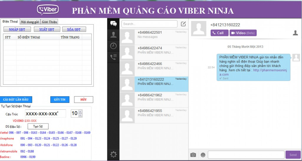 Ninja Viber - Phần Mềm Quảng Cáo Mới Trên Viber