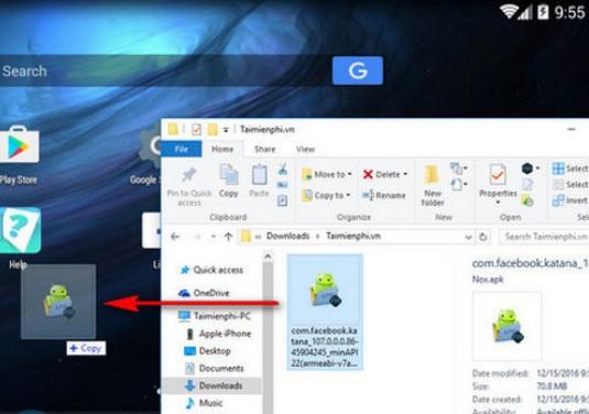 Nox App Player- cách kéo thả file Apk của game