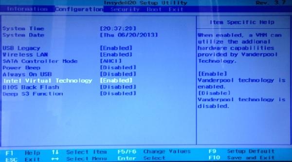 Nox App Player cách bật VT trong BIOS