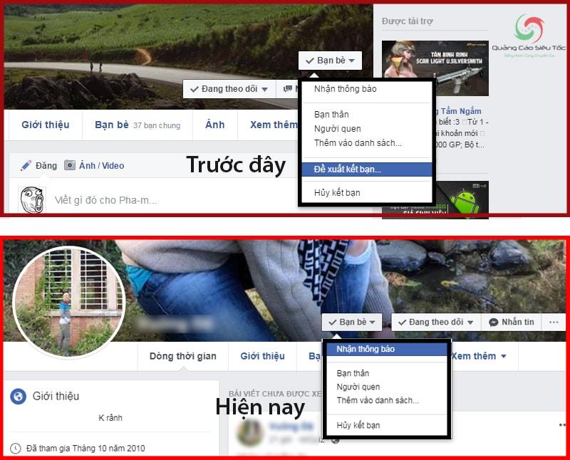 Nút đề xuất kết bạn trên Facebook hiện nay đã bị xóa