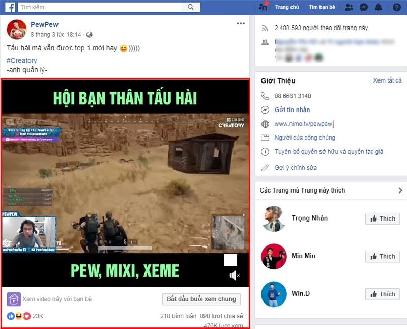 PewPew là streamer chuyên thực hiện các video game