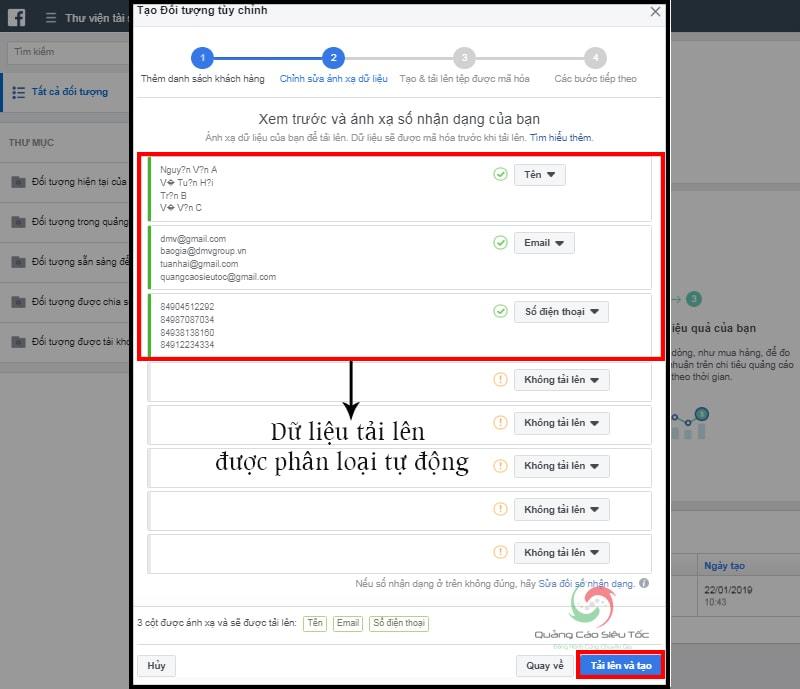 Phân loại dữ liệu từ data khách hàng sau khi tải lên