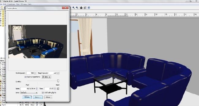 Phần mềm thiết kế nhà Sweet Home 3D - Xem trước ở chế độ 3D