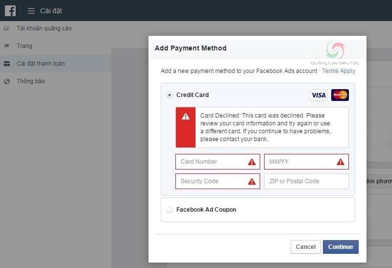 Thẻ bị từ chối khi thanh toán tiền quảng cáo Facebook