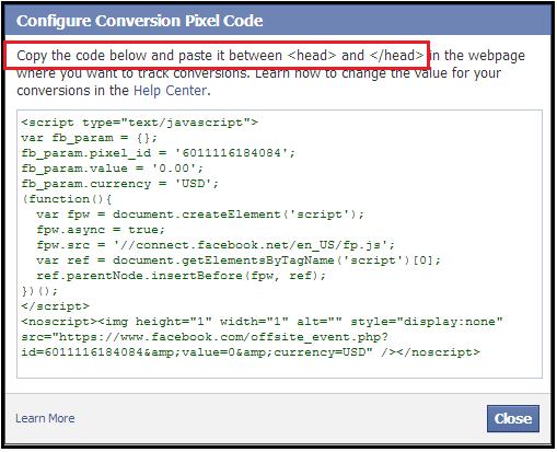 Code pixel facebook