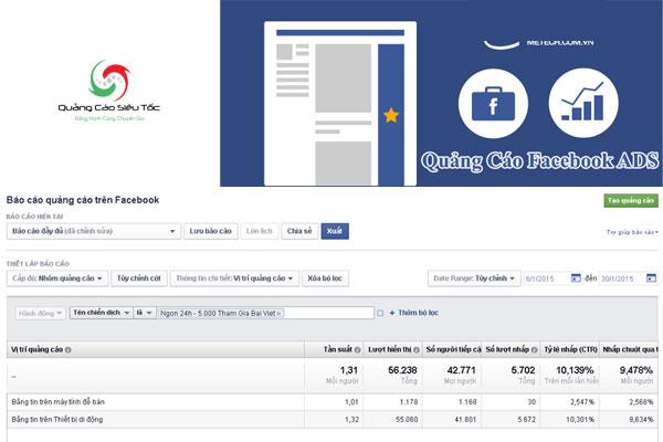 Các số liệu thống kê được trả về từ các chiến dịch quảng cáo trên Facebook