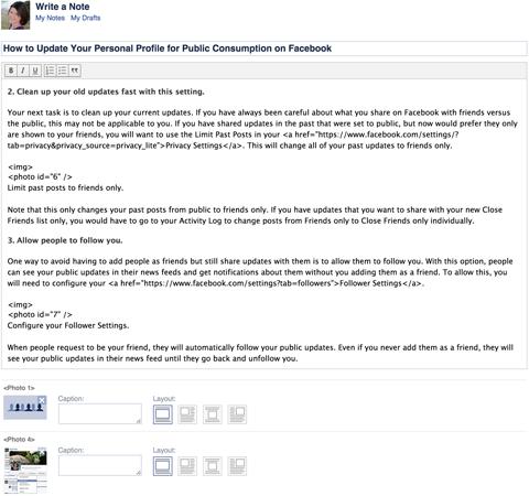 quang cao facebook bang facebook notes 2016