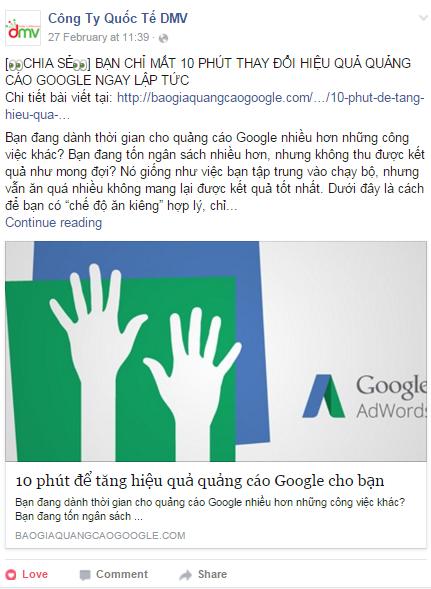 Noi dung chia se tren facebook cong ty dmv