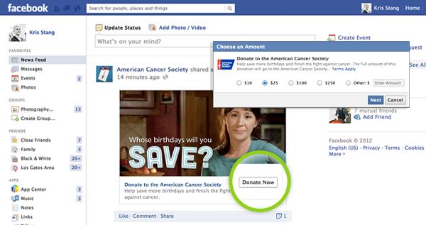 nut donate cho quang cao facebook