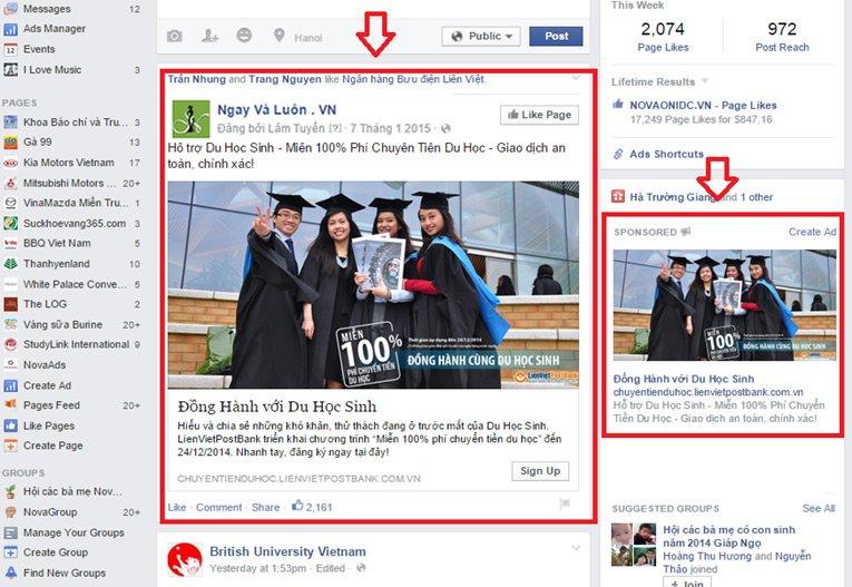 Quảng Cáo Facebook Giá Rẻ  vị trí bên phải | Quảng Cáo Siêu Tốc