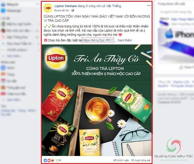 Minh họa dạng quảng cáo Page post của Facebook