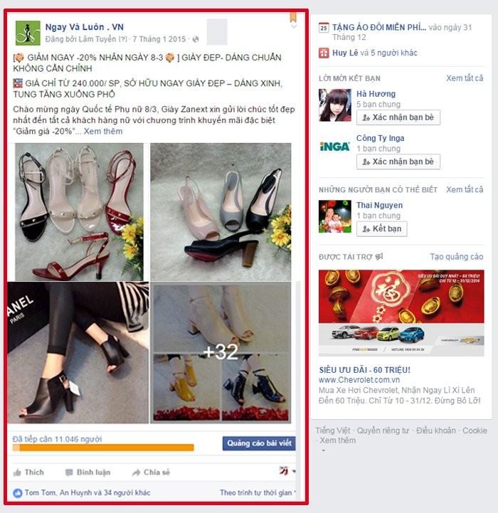 Quảng cáo facebook Page Post