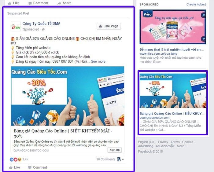 Quảng cáo facebook page to web