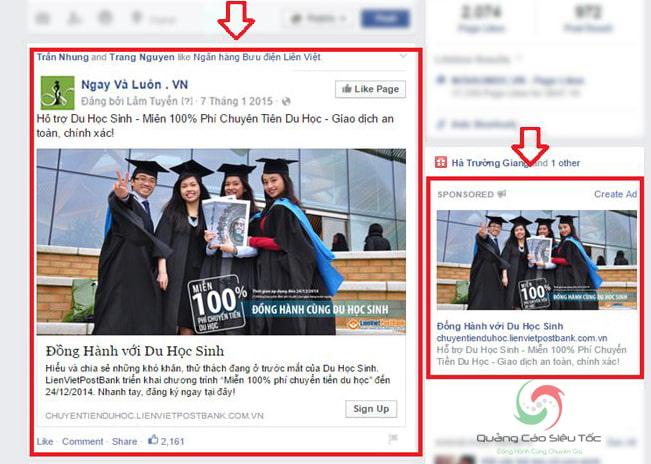 Minh họa dạng quảng cáo tăng like Facebook